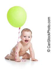 ballon, main, isolé, blanc, vert, garçon, bébé, sourire, sien