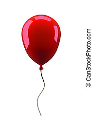 Ballon - Red balloon isolated on white background - 3d...