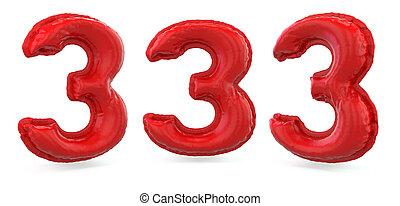 ballon rouge, arrière-plan., gonflable, signe., 3d, nombre, 3., numérique