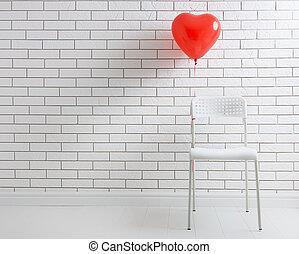 ballon rouge, dans forme, de, coeur