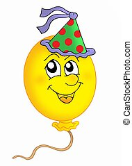 Ballon with cap - Color illustration of balloon with party...