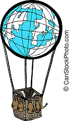 Ballon with earth design in vector