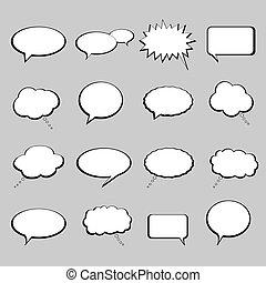balloner, bobler, tale, eller, samtalen