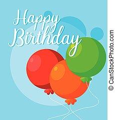 balloner, fødselsdag, helium, card, glade