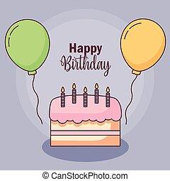 balloner, fødselsdag kage, helium, card, glade