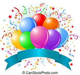 balloner, fødselsdag, konstruktion