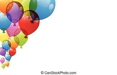 balloner, ferie, skinnende, blanke