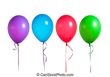 balloner, gruppe, farverig