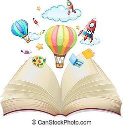balloner, og, raketter, ind, den, bog
