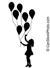 ballons, 女の子, シルエット, 白い背景