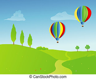 a pair of hot air balloons over a springtime rural landscape