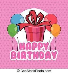 ballons, anniversaire, conception, cadeau, heureux