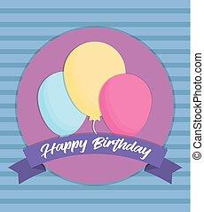 ballons, anniversaire, conception, heureux