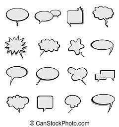 ballons, bellen, toespraak, of, praatje