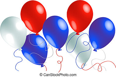 ballons, blanc rouge, bleu