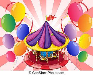 ballons, centre, carrousel