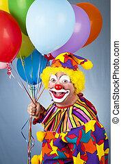 ballons, clown, heureux