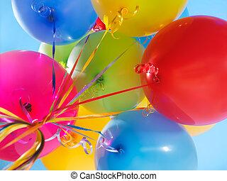ballons, coloré, air