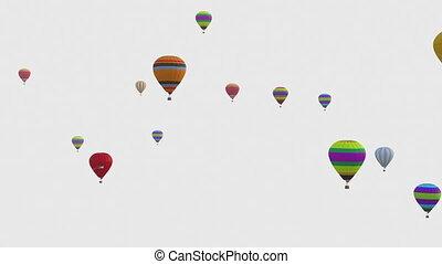 ballons colorés, festival., canal, blanc, alpha, profondeur, balloon, included., arrière-plan.
