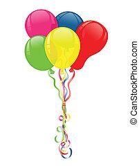 ballons colorés, pour, faire la fête, célébrations