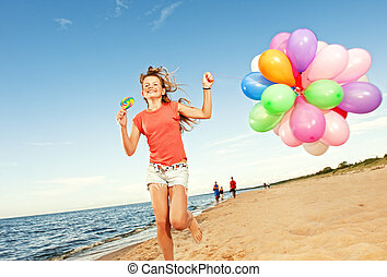 ballons, courant, plage, girl, heureux