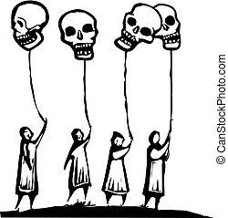 ballons, crâne