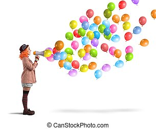 ballons, cris, clown
