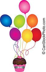 ballons, cupcake