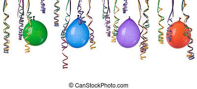 ballons, en, confetti