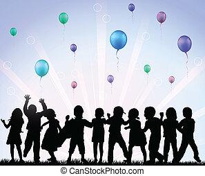 ballons, enfants, heureux