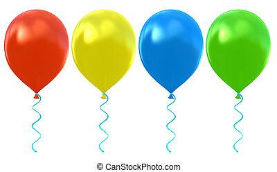 ballons, ensemble, hélium