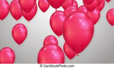 Ballons Flying up White Background Seamlessly loopable Animation With Alpha Channel. Valentine's Day Offers, Personal Greeting Card for loved one, Holidays and Celebrations Wedding video.
