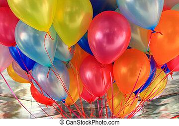 ballons, fond, multicolore