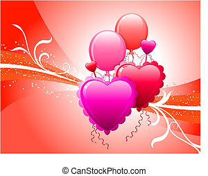 ballons, fond, rouges