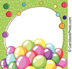 ballons, frontière, gabarit, coloré