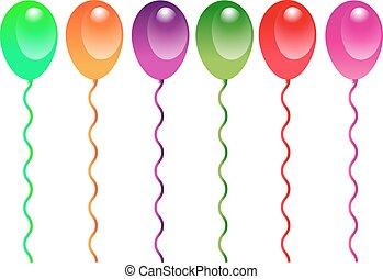 ballons, groep, spotprent