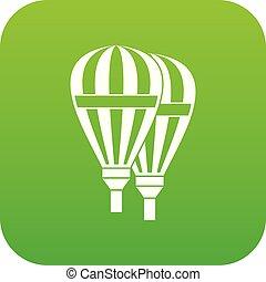 ballons, icône, vert, numérique