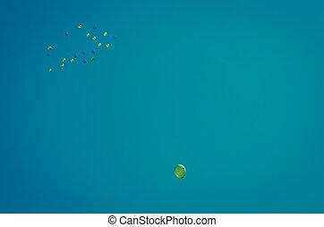 ballons, in, de, hemel