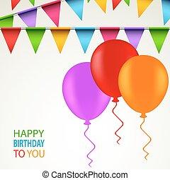 ballons, jarig, linten, gekleurde, kaart