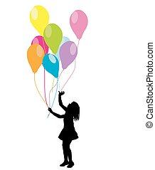ballons, meisje, silhouette