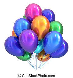 ballons, multicolore, décoration, fêtede l'anniversaire, hélium, heureux