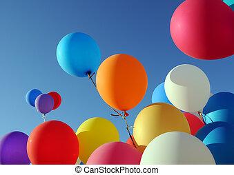 ballons, multicolore