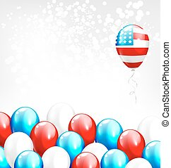ballons, national, grayscale, couleurs, usa