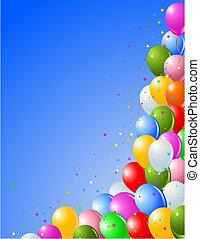 ballons, op, een, blauwe achtergrond