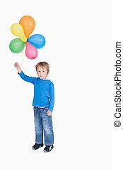 ballons, paquet, portrait, tenue, garçon, jeune