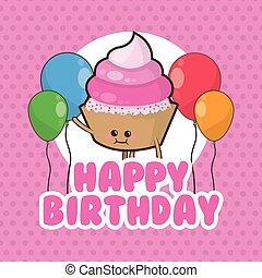ballons, petit gâteau, anniversaire, conception, heureux