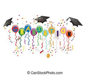 ballons, remise de diplomes, illustration, célébration