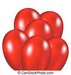 ballons, rood, feestelijk