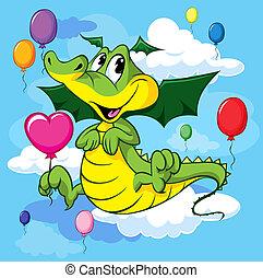 ballons, schattig, vlieg, dragoon