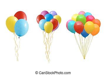 ballons, set, kleurrijke